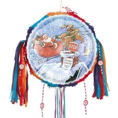 Julemand og Rensdyr Snoretræk Pinata. Invitér til julefrokost og lad børnene underholde med denne søde piñata. Perfekt til Mens vi venter på jul, Anders Ands julefavoritter, Den fortryllede jul, Frost, Et juleeventyr, Polarekspressen eller andre jule temafester.