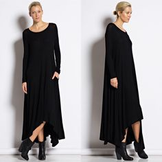 """""""Compass Rose"""" Long Sleeve Maxi Dress Long sleeve maxi dress with pockets and an asymmetric hem. Available in black and burgundy. This listing is for the BLACK. Brand new. True to size. NO TRADES. Bare Anthology Dresses Maxi"""