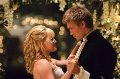 """Came to the realisation that this scene from A Cinderella Story is literally my dream wedding come true. That dress is my dream dress. That hair is how I want mine done. They're dancing in a flowered gazebo lit by strings of fairy lights. He's her Prince Charming. They're dancing to """"I'll Be"""" by Edwin McCain. Literal perfection."""
