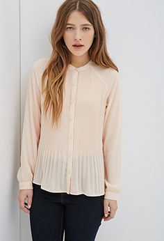 Accordion-Pleated Raglan Blouse | FOREVER21 - 2000118712