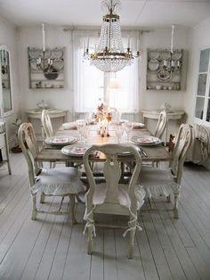 Scandinavian Dining Room Design: Ideas & Inspiration - Di Home Design Shabby Chic Cottage, Shabby Chic Decor, Cottage Style, Swedish Decor, Swedish Style, Dining Room Lighting, Dining Rooms, Shabby Chic Furniture, Handmade Furniture