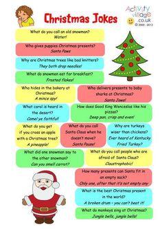 Christmas jokes printable