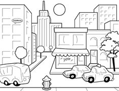 City Streets Coloring Pages AMERICANA Pinterest Coloring