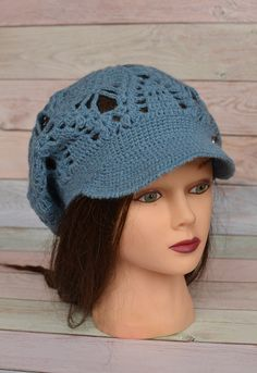 Crochet Brim Cap Beret with a visor Textured Mesh Slouchy Cap all season  Knit Cap for women teens B 23453ce87552