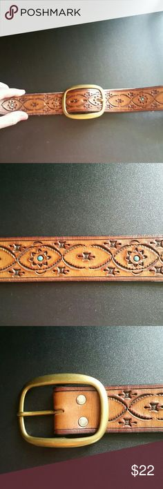 BRIGHTON BRAND Genuine Leather Belt This bwlt is perfect for ANY cowgirl or someone looking to add some southwest styling to their wardrobe!  Hand tooled with turquoise colored centers from the Brighton Honest line and like new size 36. Please feel free to ask any questions prior to purchasing. Brighton Accessories Belts