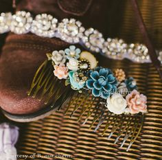 Wedding Hair Comb Bridal Headpiece Cornflower Blue Gray Blush Light Pink White Cream Romantic Elegant Chic Spring Summer Fall Pastel Colors