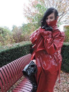 You will clean my boots. You will then beg me to cane you, at the office! Red Raincoat, Vinyl Raincoat, Raincoat Jacket, Fetish Fashion, 70s Fashion, High Leather Boots, Leather Jacket, Imper Pvc, Parka
