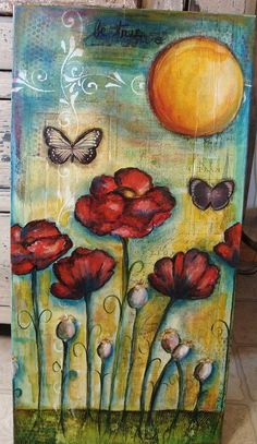 Mixed Media Poppy Painting 2