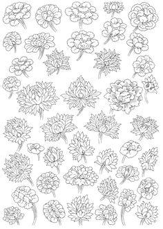 Plate Stylised peony and chrysanthemum flower blossoms Buddhist Symbols, Buddhist Art, Mural Painting, Mural Art, Japanese Flowers, Japanese Art, Tibet Art, Thangka Painting, Thai Art