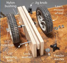 "Plywood Caddy $20 in parts is cheap insurance for your back. Carry plywood by yourself is really a pain. Here's a helper that allows you to roll it around instead. Just clamp this caddy to the board's edge, tip the sheet down onto the wheels and off you go. The caddy will fit plywood that's 1/2"" to 3/4"" thick. Its sides aren't glued together—they just slide on bolts. I put …"