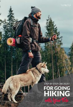 Step by Step Checklist for Going Hiking with Your Dog. Taking a hike with your dog might not seem like it requires any preparation, but the proper precautions will ensure both your and your dog's safety and comfort. Many owners believe that hiking with dogs is nothing more than a walk through the wilderness with your pet, but it's much more strenuous than that. There's a lot to do before, during and after the hike! #dog #hiking #pets #hike #dogs #outdoors #active #lifestyle #animals #camping