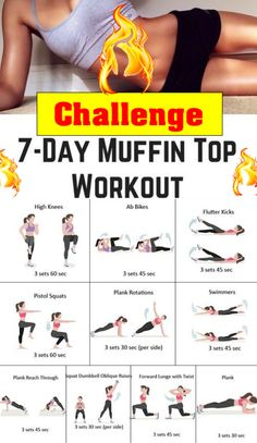 7 Day Challenge muffin top melter workout - Real Time - Diet, Exercise, Fitness, Finance You for Healthy articles ideas Fitness Workouts, Yoga Fitness, Workout Hiit, Workout Challange, Fitness Workout For Women, At Home Workout Plan, Easy Workouts, Health Fitness, Physical Fitness
