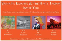 August 2015, we are excited to have these four featured artists showing their work on Friday evenings throughout the month at the Hyatt Regency Tamaya Resort & Spa. Come join us - All are welcome! Special thank you to Santa Fe Exports for with providing artist works for these weekly events.