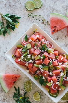 Watermelon Mint Salad | Watermelon adds a soft sweetness to savory dishes like this watermelon and mint salad with avocado, feta and red onion. This light summer side dish is a healthy alternative to heavier, mayonnaise based salads @Foolproof Living