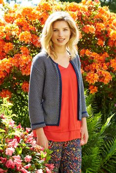 This must have edge to edge cardi doubles up as a cute little box jacket. Sumptuously soft organic cotton in a diamond knit. Available in classic navy and ocean blue. Nomad Clothing, Ethical Clothing, Sustainable Clothing, Mother Day Gifts, Spring Outfits, Organic Cotton, Knitwear, Feminine, Ss 2017