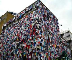 Covering the outside of a four-story building like tattered shingles, 10,000 colorful garments hang – and they represent just five minutes' worth of discarded clothing in the United Kingdom. The 'Shwopping' campaign by UK retailer Marks & Spencer (a portmanteau of 'shopping' and 'swapping') calls attention to clothing waste in a way that temporarily transformed an urban setting in London.