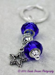 Dallas Cowboys Football Blue Silver Beaded Keychain Texas with Tibetan Silver Open Star Dangle by Xanadu Dreams Jewelry - CUSTOMIZE IT...