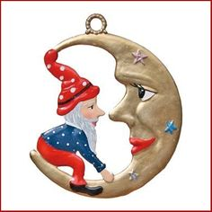 $32.00 Elf on the Moon Christmas Ornament by Wilhelm Schweizer. So Sorry, product is out of stock. Please Contact Us to reserve this item in our incoming shipment. Hand cast, hand painted, imported Pewter Christmas Ornament from Germany. Painted on both sides.  Ornament comes with Gift Pouch and Hanging Ribbon.  Colors may vary from the image …