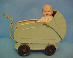 "Vintage Toy Doll House Miniature metal Baby Buggy Carriage for 3"" to 6"" doll 