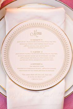Round Wedding Menu S Pink Invitation Paper Cards