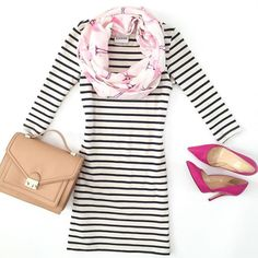 stripes and w/ flamingo accent