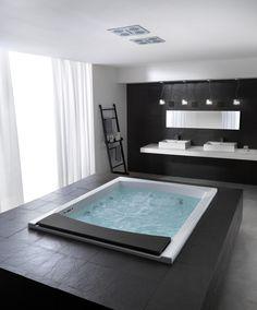 my dream bathroom with jacuzzi tub. Dream Bathrooms, Beautiful Bathrooms, Luxury Bathrooms, Fancy Bathrooms, Black Bathrooms, Style At Home, Spas, Home Fashion, Club Fashion