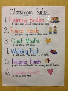 Kindergarten and First Grade Classroom Rules anchor chart (picture only.) p Kindergarten and First Grade Classroom Rules anchor chart picture only p First Grade Classroom, Classroom Behavior, Future Classroom, Classroom Ideas, Classroom Expectations, Classroom Charts, Classroom Setting, Teaching First Grade, Classroom App