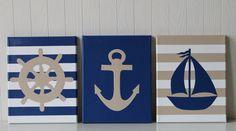 Nautical Nursery Decor Wall Sailboat Nursery Anchor Ship's Wheel Blue Beige Nursery Modern Nautical Painting