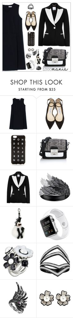 """Black and White Color Trend"" by yours-styling-best-friend ❤ liked on Polyvore featuring Jil Sander, Jimmy Choo, J.Crew, Karl Lagerfeld, Moschino, AS29, Fendi, Oscar de la Renta, Boucheron and Kenneth Jay Lane"