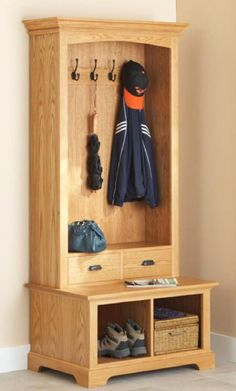 31-dp-00849 - Hall Tree Storage Bench Downloadable Woodworking Plan PDF…