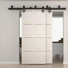 Country Style Bypass Barn Door Hardware Kit, 5' - 16' Track – Rustic Rolling Doors