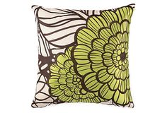 Jungle Bloom Embroidered Pillow, Green