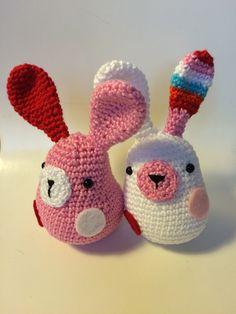 """Cute little rabbits. Pattern from """"Stip en Haak"""""""