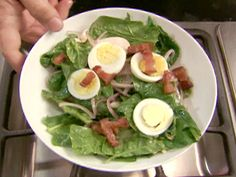 Spinach Salad with Warm Bacon Dressing from FoodNetwork.com
