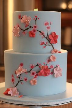 How to Make Cherry Blossoms on Cake; Moneting it- How to Make Cherry Blossoms on Cake; Moneting it Panda and cherry blossom cake McGreevy Cakes - Pretty Cakes, Cute Cakes, Beautiful Cakes, Amazing Cakes, Beautiful Cake Designs, Japanese Party, Japanese Cake, Japanese Geisha, Japanese Kimono