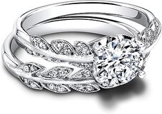 This image shows the setting with a 1.00ct round brilliant cut center diamond. The setting can be ordered to accommodate any shape/size diamond listed in the setting details section below. Shown with the matching wedding band; Sold separately.