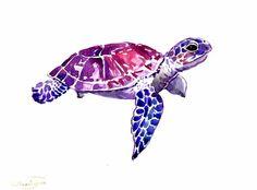 Sea Turtle, original watercolor painting, 9 X 12 in, landscape, horisontal… Lapin Art, Aquarell Tattoo, Turtle Love, Purple Turtle, Desenho Tattoo, Painting & Drawing, Amazing Art, Awesome, Watercolor Paintings