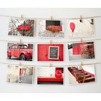 Postcards, twine and closepin wall idea.