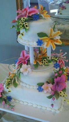 Hawaiian theme wedding cake