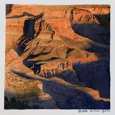 """Grand Canyon - From South Rim 7""""x7"""" Watercolor on Arches 150 lb. cold press block. About 12 hours to complete."""
