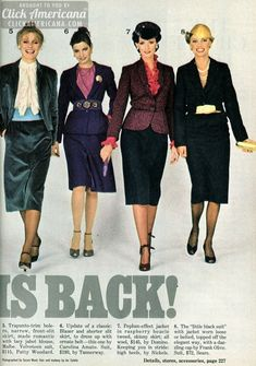 women's clothing 1979 | Fashion for women: The suit is back! (1979)