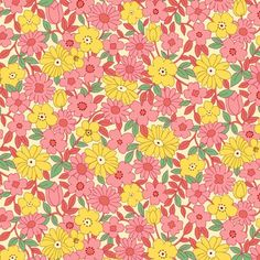 """""""Nana Mae II"""" Pink/Yellow Large Daisy Collection from Henry Glass Pattern Art, Print Patterns, Vintage Quilts, Glass Collection, Aesthetic Wallpapers, Pink Yellow, Wall Collage, Flower Patterns, Cute Wallpapers"""