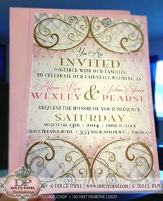 fairytale wedding reception gold purple card | receptions, Wedding invitations