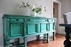 SOLD - Antique Jacobean Hand Painted French Country Cottage Chic Victorian Distressed Weathered Turquoise / Aquamarine Buffet Sideboard
