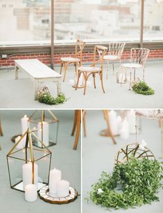Obsessing over how lovely this mix of benches and chairs from Archive Rentals looks in this dreamy ceremony rooftop wedding