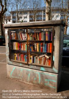 Open Air Library in Mainz, Germany. 2011 © Grashina (Photographer, Germany). 'Old electrical fuse box turned into a book shelf. People donate their old books and take home others. There are several across town including a bookcase specifically for kids.'