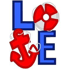 Love With Anchor Applique - 3 Sizes! | Words Applique Machine Embroidery Designs | Machine Embroidery Designs | SWAKembroidery.com