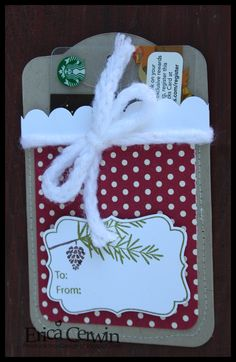 Stampin Up!  Two Tags Christmas Gift card holder