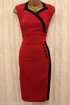Hybrid Side Button Pencil Fitted Stretch Bodycon Red Party Dress