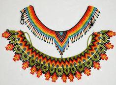Saraguro beadwork ile ilgili görsel sonucu Seed Bead Bracelets Tutorials, Free Beading Tutorials, Beading Patterns, Indian Beadwork, Native Beadwork, Bead Jewellery, Beaded Jewelry, Beaded Bracelets, Diy Necklace Patterns